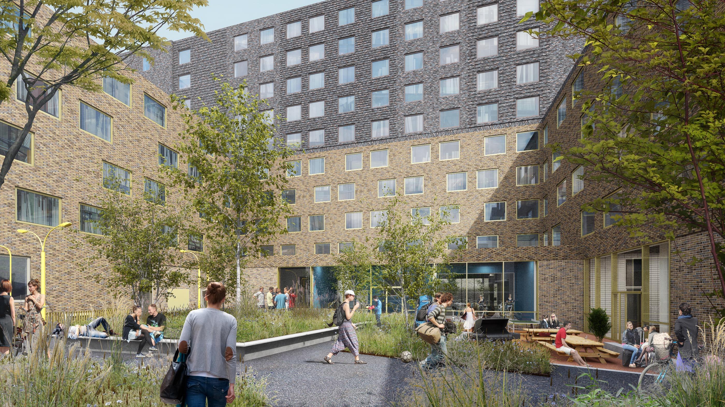 Binnengebied Studentenhotel Boterdiep groningen_Beton Centrale Groningen